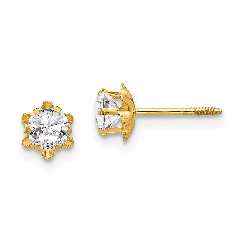 Quality Gold 14k Madi K 4mm Synthetic (Apr) Screwback Earrings