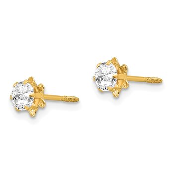 14k Madi K 4mm Synthetic (Apr) Screwback Earrings