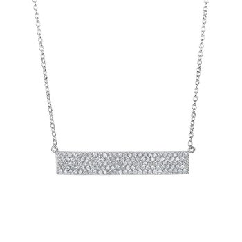 Silver Pave CZ ID Bar Necklace