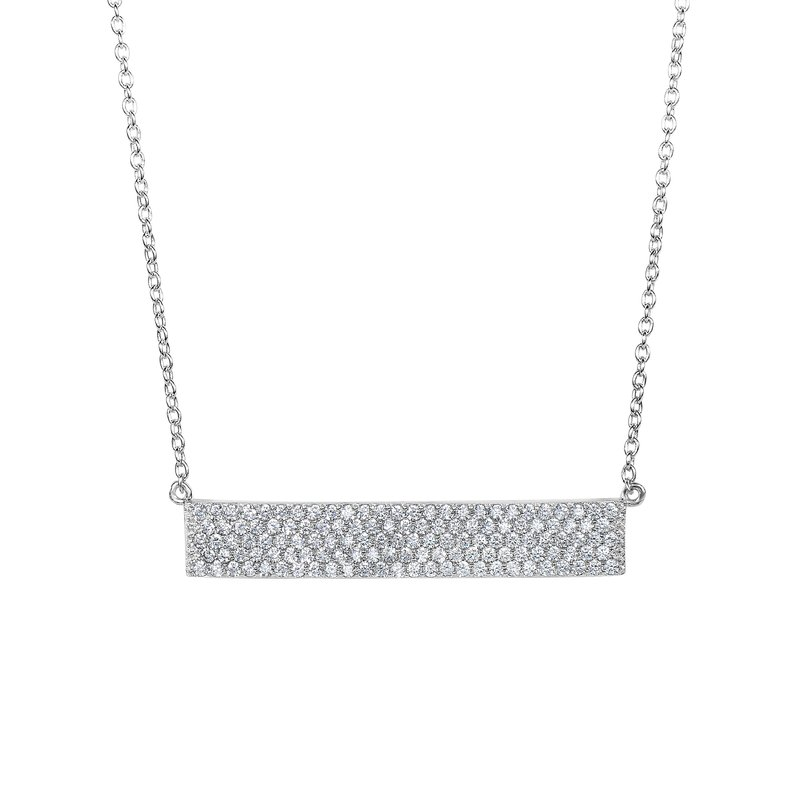 Royal Chain Silver Pave CZ ID Bar Necklace