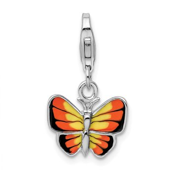 Sterling Silver Rhodium-plated w/Lobster Clasp Enameled Butterfly Charm