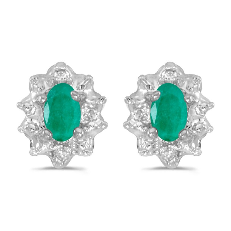 Color Merchants 10k White Gold Oval Emerald And Diamond Earrings