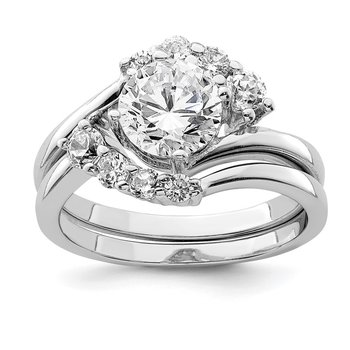 Sterling Silver Rhodium-plated 2-piece CZ Wedding Ring Set