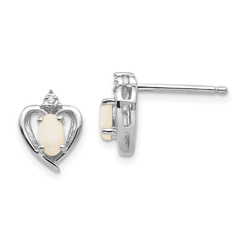 Quality Gold 14k White Gold Opal and Diamond Heart Post Earrings