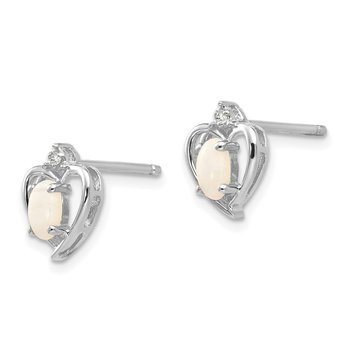 14k White Gold Opal and Diamond Heart Post Earrings