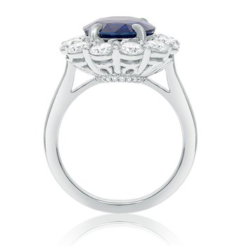 Sapphire & Diamond Flowering Halo Ring