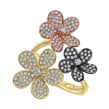 Diamond Triple Flower Ring in 14k Yellow and Rose Gold with 203 Diamonds weighing 1.01ct tw.