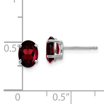 14k White Gold 7x5mm Oval Garnet Earrings