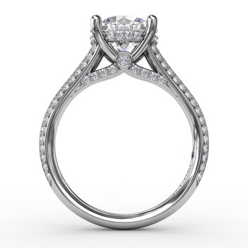 Contemporary Solitaire Diamond Engagement Ring With Split-Shank Diamond Band