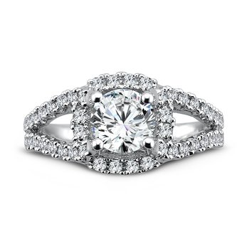 Luxury Collection Engagement Ring With Diamond Side Stones in 14K White Gold (1ct. tw.)