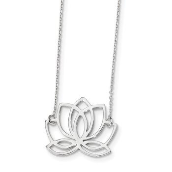 Sterling Silver Rhodium-plated Polished Lotus Flower 18 inch Necklace