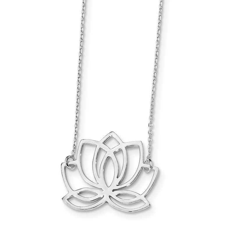 Quality Gold Sterling Silver Rhodium-plated Polished Lotus Flower 18 inch Necklace