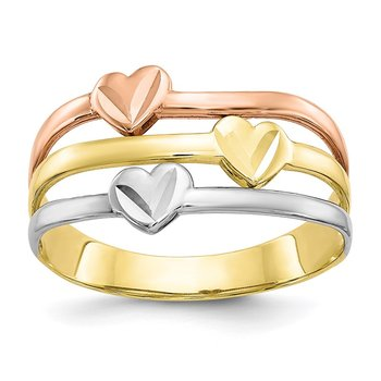 10k Two-tone w/White Rhodium Polished Heart Ring