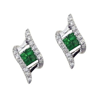 14k White Gold Emerald and Diamond Angled Earrings