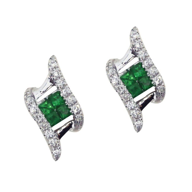 Color Merchants 14k White Gold Emerald and Diamond Angled Earrings