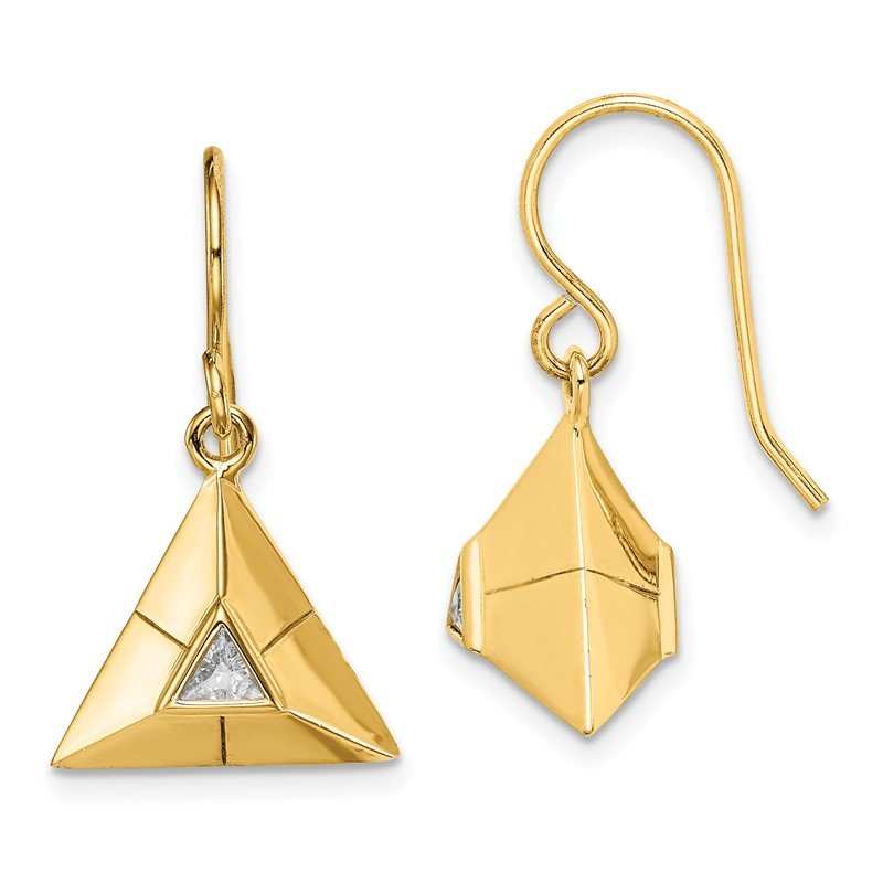 Quality Gold Sterling Silver Gold-plated Triangular Origami CZ Dangle Earrings