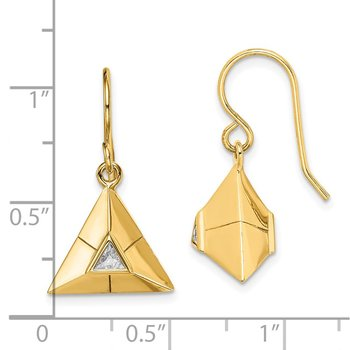 Sterling Silver Gold-plated Triangular Origami CZ Dangle Earrings