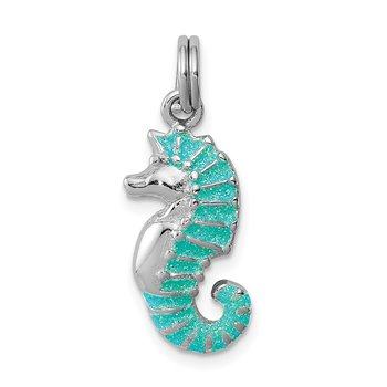 Sterling Silver Rhodium-plated Green Glitter Enamel Seahorse Charm