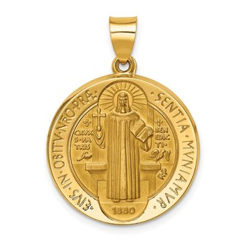 14K Polished/Satin St. Benedict Reversible Hollow Medal