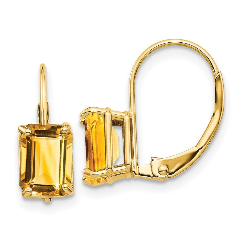 Quality Gold 14k 7x5mm Emerald Cut Citrine Leverback Earrings