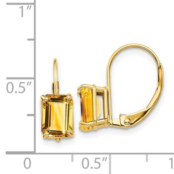 14k 7x5mm Emerald Cut Citrine Leverback Earrings