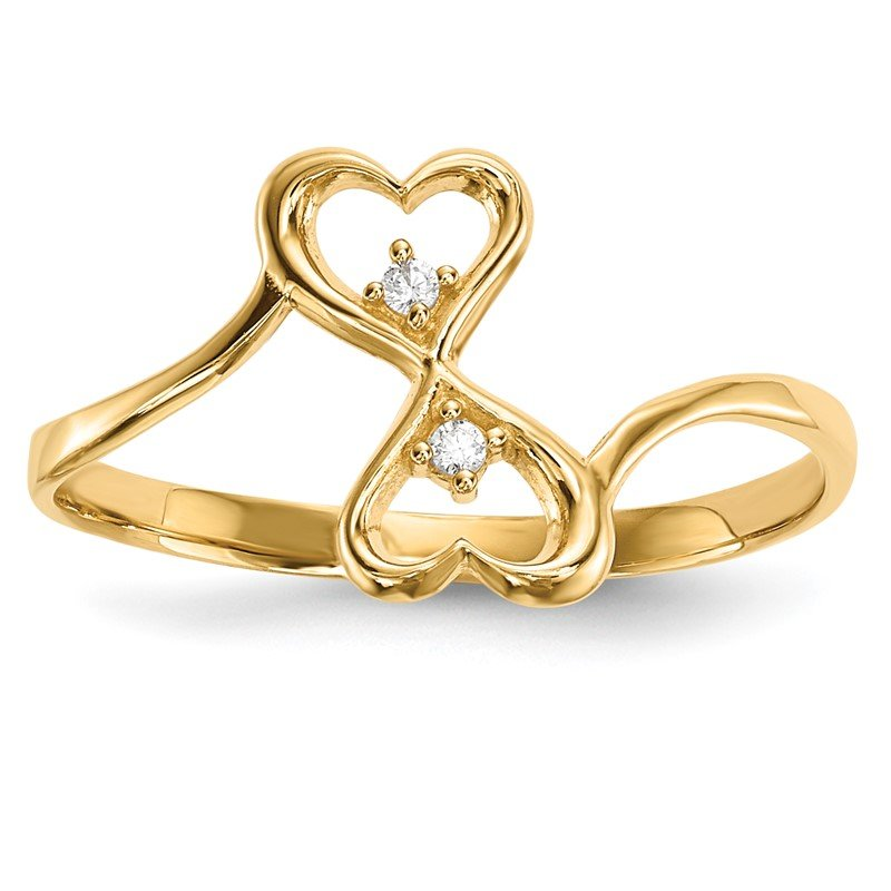 Quality Gold 14k CZ Double Heart Ring