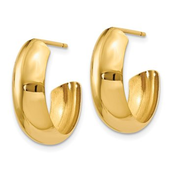 14k Polished 6.5mm J-Hoop Earrings