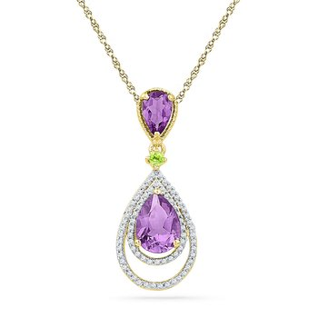 10kt Yellow Gold Womens Oval Lab-Created Amethyst Diamond Teardrop Pendant 1-1/2 Cttw