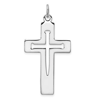 Sterling Silver Rhodium-plated Latin Cross Pendant