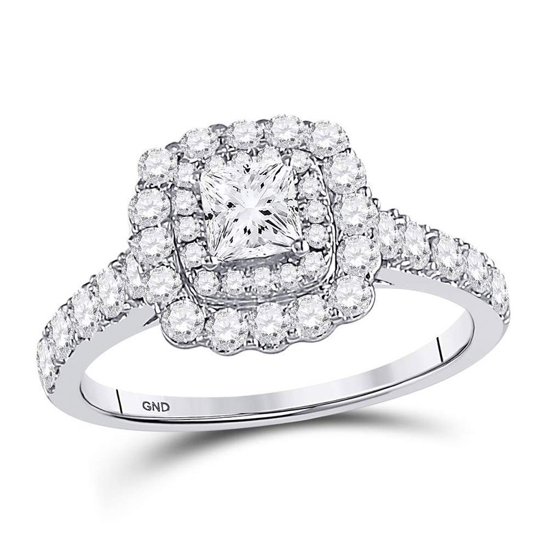 Kingdom Treasures 14kt White Gold Womens Princess Diamond Solitaire Bridal Wedding Engagement Ring 1-1/5 Cttw