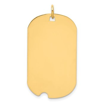 14k Plain .035 Gauge Engraveable Dog Tag w/Notch Disc Charm