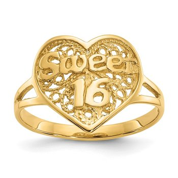 14k Sweet 16 Heart Ring
