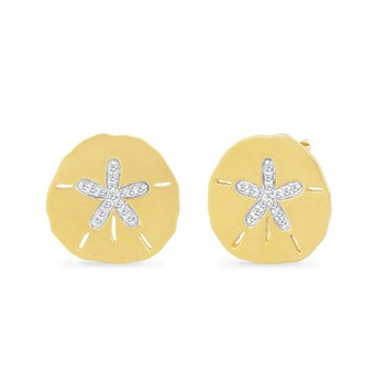 14K SAND DOLLAR EARRINGS WITH 32 DIAMONDS 0.17CT, 16.75MM BY 17MM