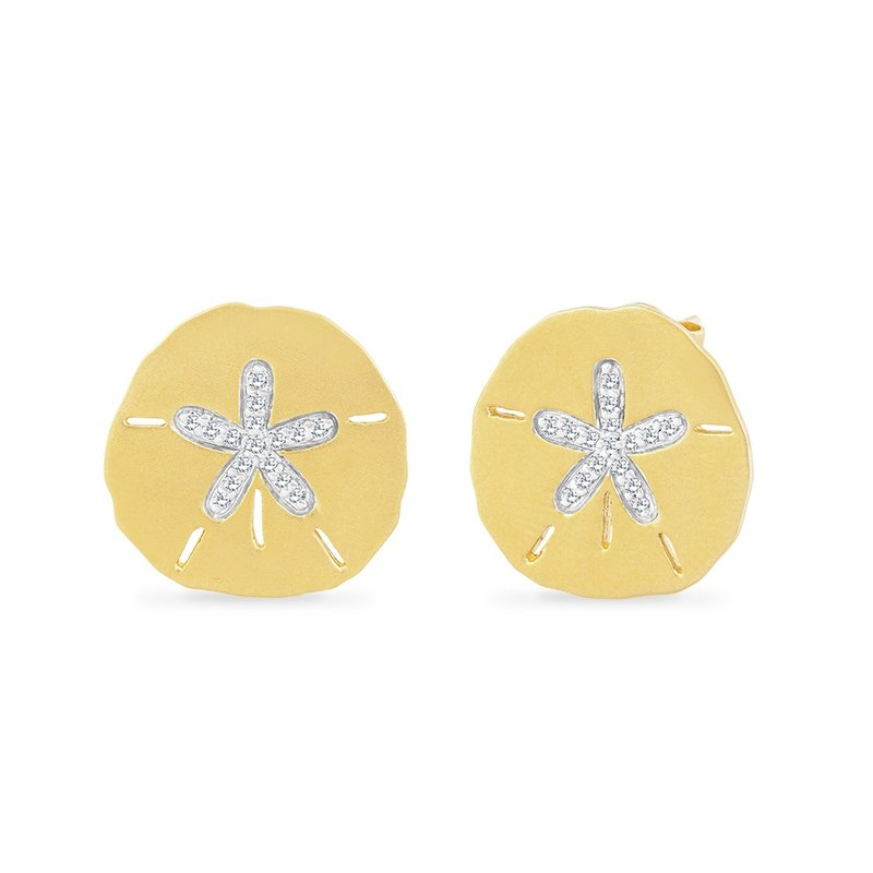 Shula NY 14K SAND DOLLAR EARRINGS WITH 32 DIAMONDS 0.17CT, 16.75MM BY 17MM