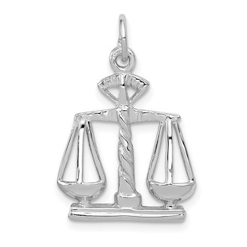 14k White Gold Polished Scales of Justice Charm