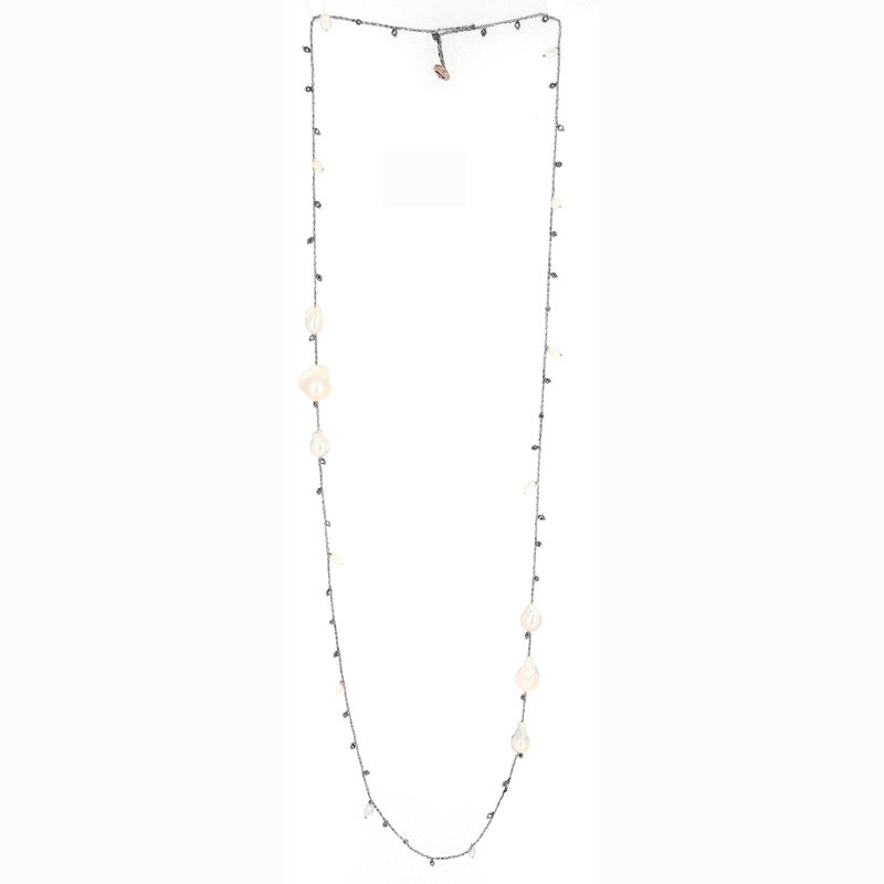 Pesavento DNA Shine Single Strand rhodium-silver Necklace with Hematite Beads & Pearl Stations