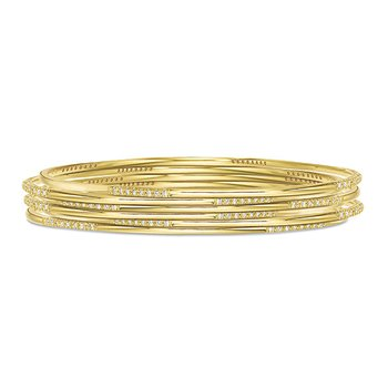 Diamond Slip-On Bangle in 14k Yellow Gold with 32 Diamonds weighing .31ct tw.