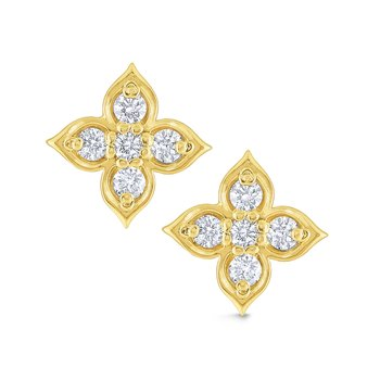 14K Gold and Diamond Floral Stud Earrings