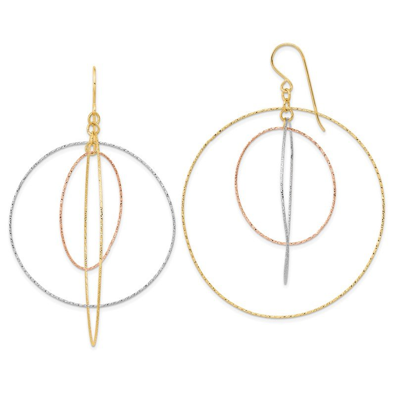 Quality Gold 14k Tri-color Diamond Cut Graduated Circles Shepherd Hook Earrings