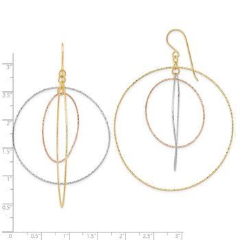 14k Tri-color D/C Graduated Circles Shepherd Hook Earrings