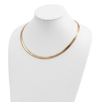 14k Two-tone Lt Reversible 6mm Omega w/extender Necklace