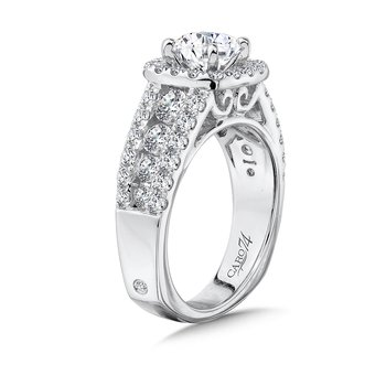 Cushion Halo Engagement Ring in 14K White Gold with Platinum Head (1ct. tw.)
