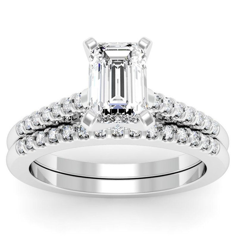 California Coast Designs Cathedral Diamond Engagement Ring with Matching Wedding Band