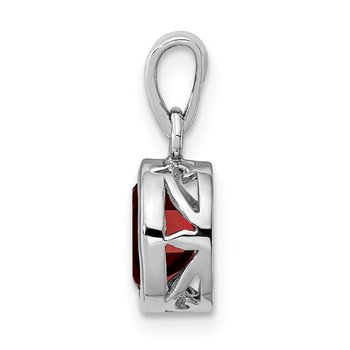 Sterling Silver Rhodium-plated Polished Garnet Oval Pendant