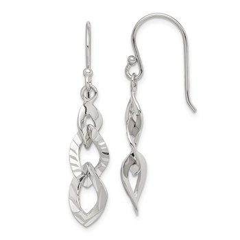 Sterling Silver Fancy Diamond-cut Dangle Earrings