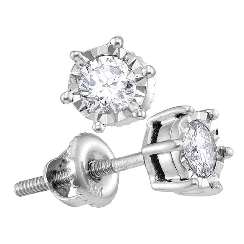Gold-N-Diamonds, Inc. (Atlanta) 10kt White Gold Womens Round Diamond Solitaire Screwback Stud Earrings 1/4 Cttw