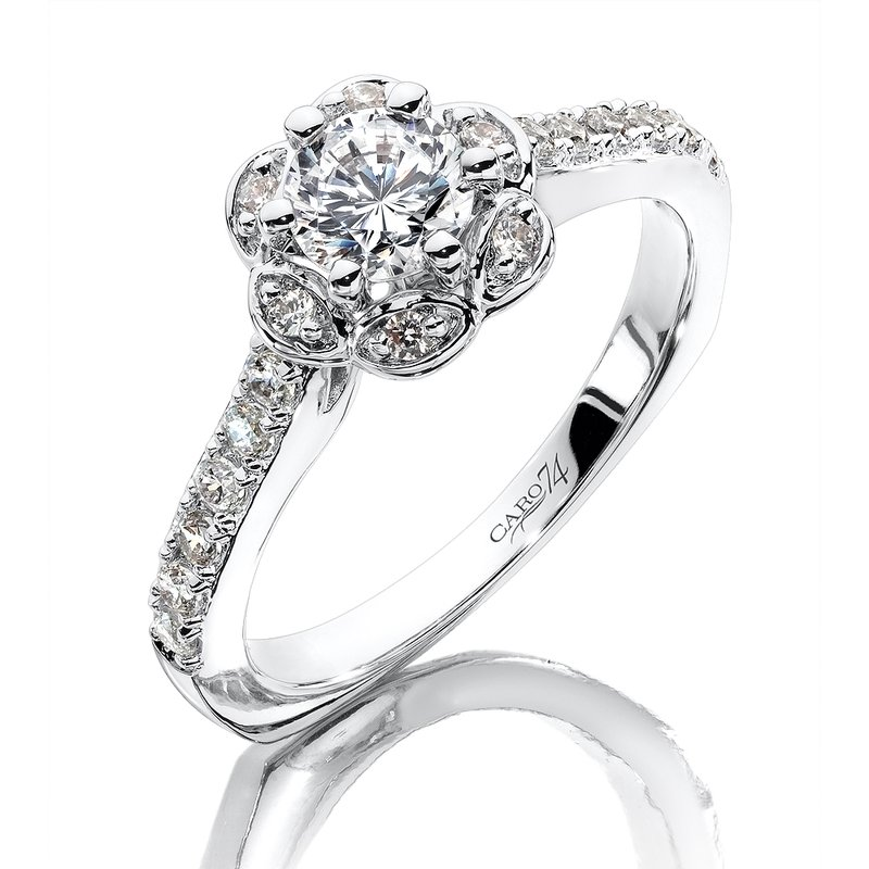 Caro74 Halo Engagement Ring in 14K White Gold with Platinum Head (1/2ct. tw.)