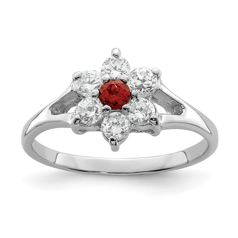 Quality Gold Sterling Silver Rhodium-plated Garnet & CZ Ring