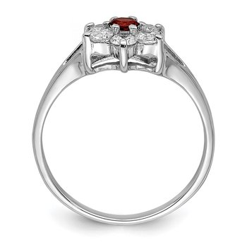Sterling Silver Rhodium-plated Garnet & CZ Ring