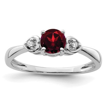 Sterling Silver Rhodium Plated Diamond and Garnet Ring